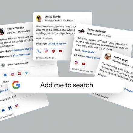 Google prueba función de tarjetas de presentación virtuales para aparecer en resultados de búsqueda