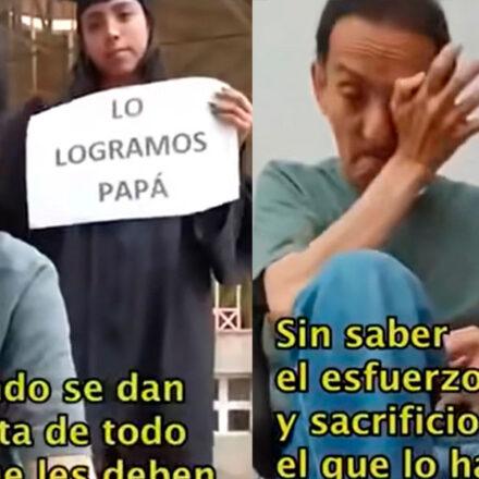 #VIDEO Joven graduada agradece a su padre bolero por darle estudios; su reacción se hace viral